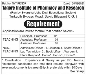 Recruitment Notice For The Post of Principal, Professor ,Associate Professor & Non-Teaching Under Statue-19 at Tagore Institute of Pharmacy and Research, Bilaspur