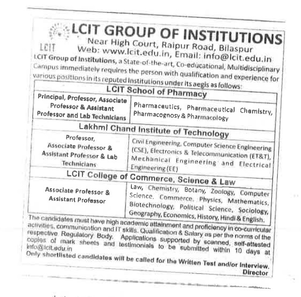 Recruitment Notice For The Post of Principal, Professor ,Associate Professor, Assistant Professor & Lab Technicians at LCIT Group of Institutions, Bilaspur