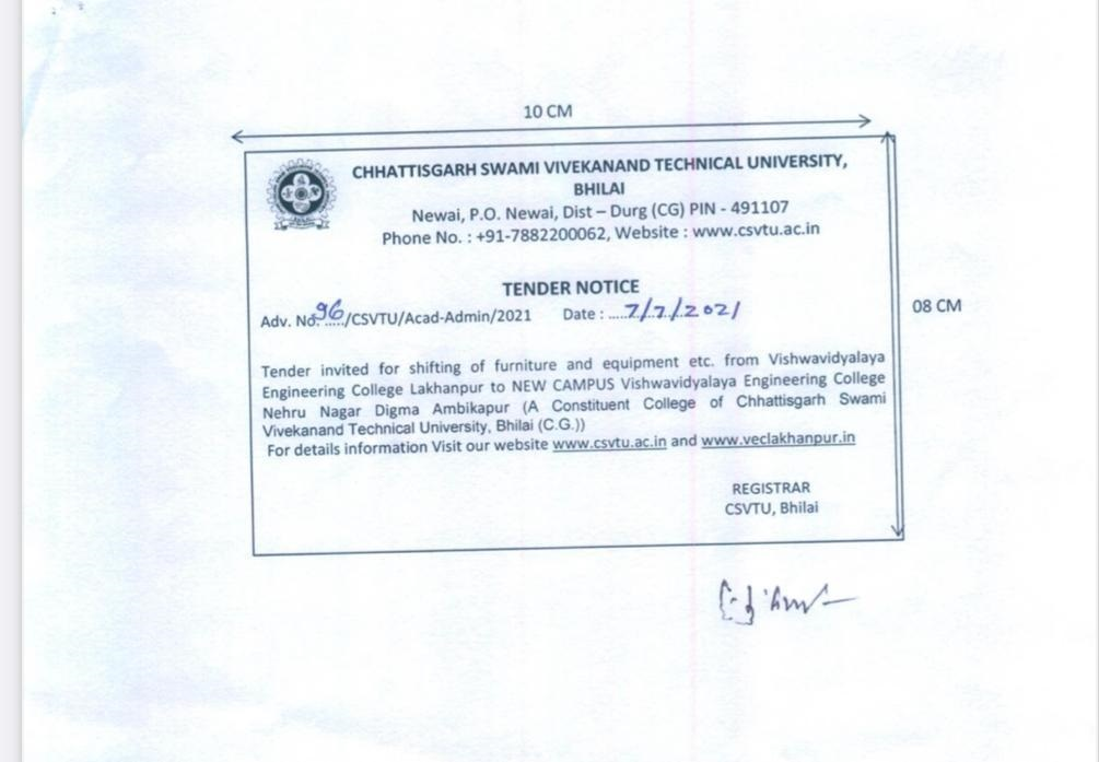 Notification: Tender Invited for Shifting of furniture and equipment etc