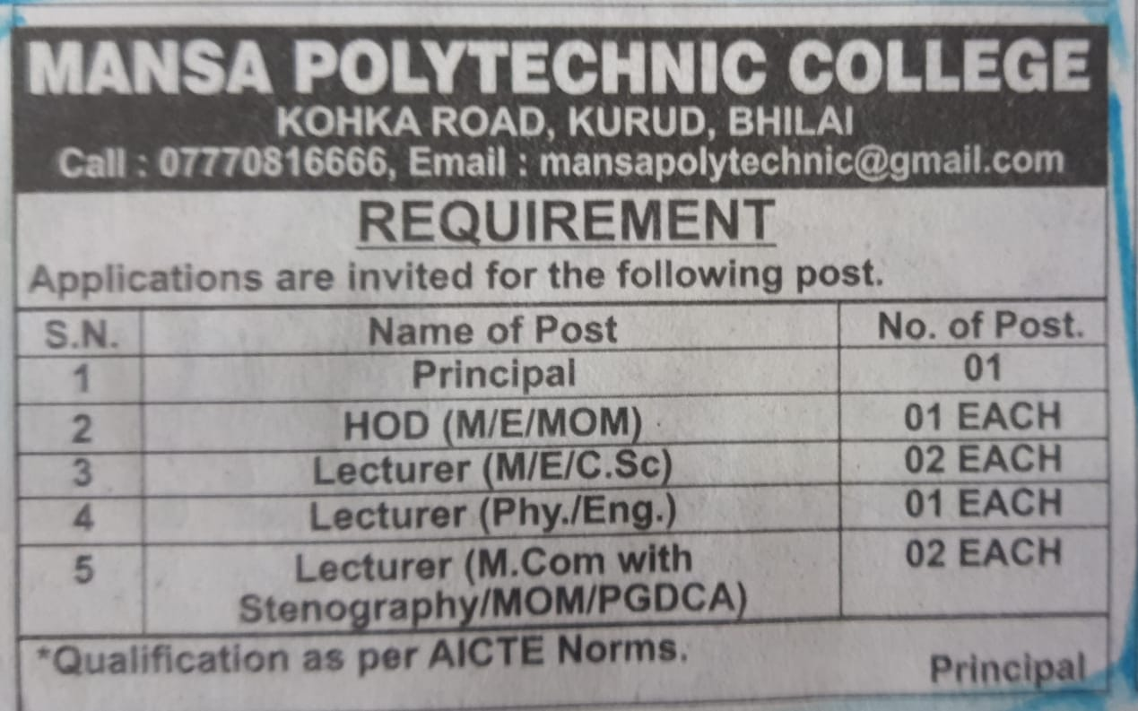 Recruitment Notice For The Post of Principal, HOD and Lecturer's Under Statute-19 at Mansa Polytechnic College, Bhilai